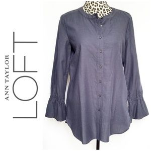 NWT Loft Collarless Button Down w/Flare Sleeves